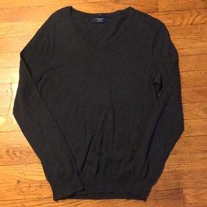 J Crew Gray V Neck Cotton Sweater Slim Small